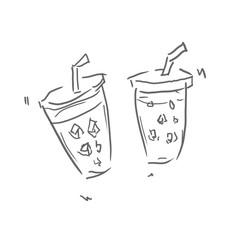クリアカップに入ったジュース2つ飲み歩き。飲み物、ジュース、お酒などの線画、下絵、ラフ、塗り絵ゆるいイラスト
