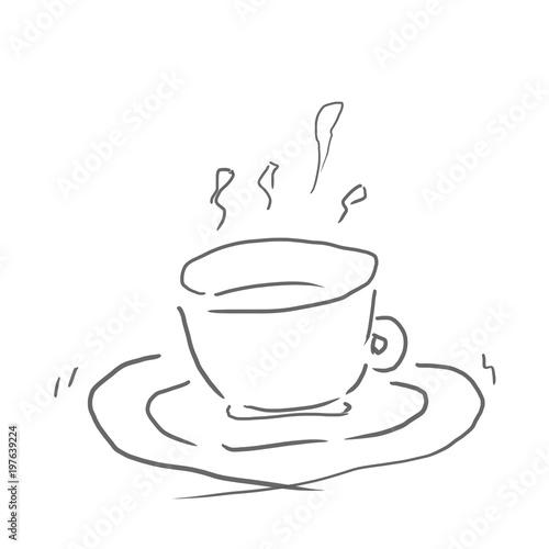 紅茶飲み物ジュースお酒などの線画下絵ラフ塗り絵ゆるい
