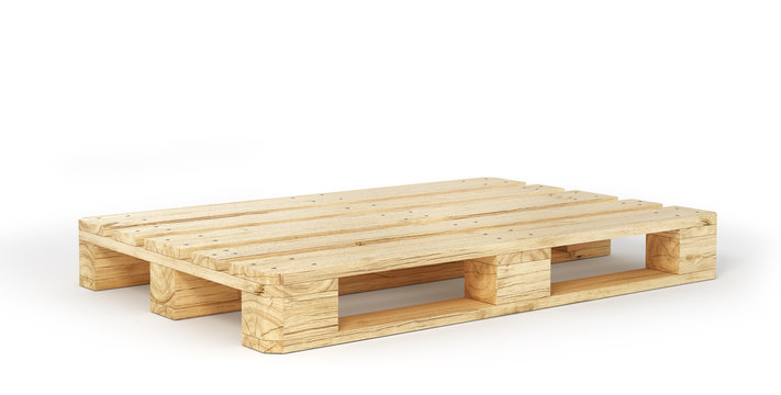 Stack of wood pallets isolated on a white. 3d illustration