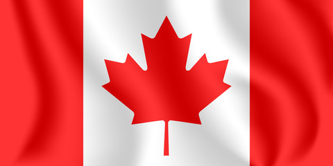 Flag of Canada. Realistic waving flag of Canada. Fabric textured flowing flag of Canada.