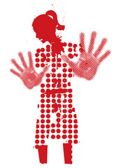 Young woman silhouette victim of violence. 