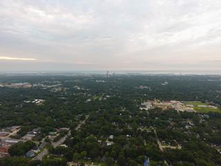 Sunrise over downtown Mobile, Alabama skyline