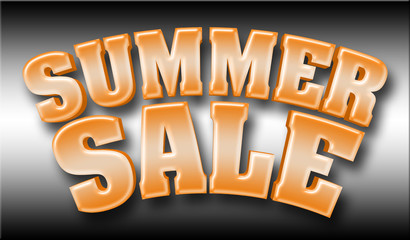 Stock Illustration - Large Shiny Orange Text: Summer Sale, 3D Illustration with Shadow, Isolated Against the Black and White Gradient Background.