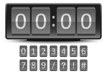 Black Digital Clock number in flip panel style on white background for vector idea graphic design