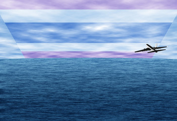 Travelling to Thailand by plane. Realistic illustration of sea, clouds and Thailand flag.
