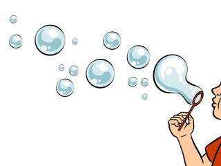 Blowing bubbles pop art vector illustration