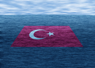Travelling to Turkey. Realistic illustration of sea, clouds and Turkey flag.