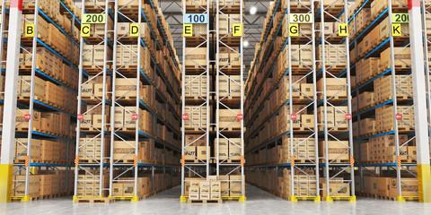 Wall Mural - Modern warehouse full of cardboard boxes. 3d illustration