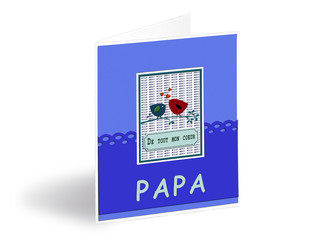 Greetings card for the father day in French text