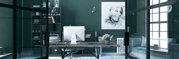 Wall Mural - Comfortable working place, office decor. 3d render