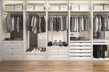 3d rendering modern scandinavian white wood walk in closet with wardrobe