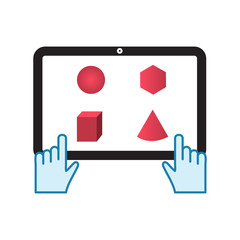 tablet touch with pink math shapes vector illustration design