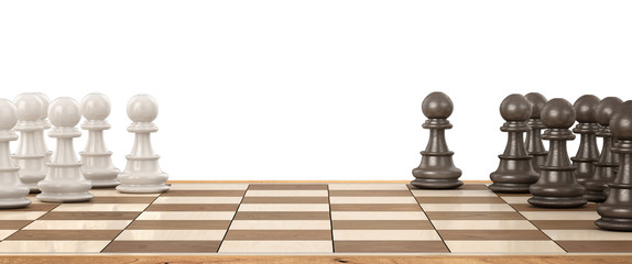 Wooden chess board with wooden chess pieces on a white. 3d illustration