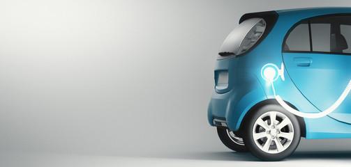 Automobile elettrica in carica, energie rinnovabili, sostenibilità