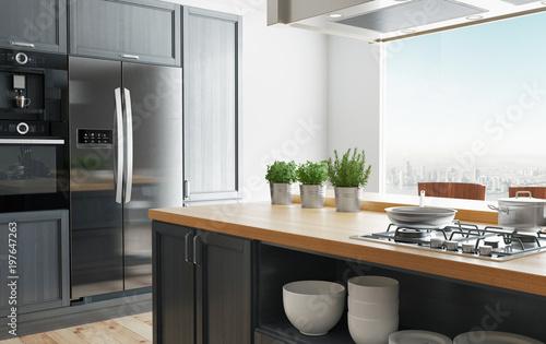 Cucina moderna di design minimal, luminosa con arredo, 3d render ...
