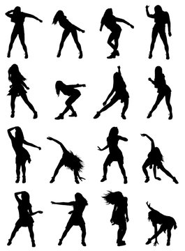 Highly detailed collection of woman poses dancing jazz dance silhouettes set. Easy editable layered vector illustration.