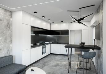 white kitchen interior 3d rendering