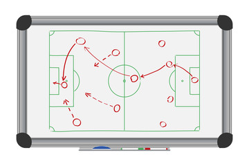 Soccer game strategy on whiteboard. Drawing with football tactical plan on marker board. Vector illustration.