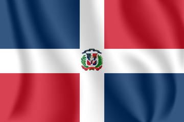 Flag of Dominican Republic. Realistic waving flag of Dominican Republic. Fabric textured flowing flag of Dominican Republic.
