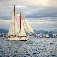 Sailing ship in the blue sea.  Yachting. Sailing