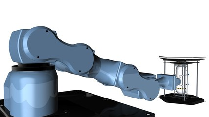 3D model of Blue robot mechanical arm with clamp tool at the end of the arm holds a reflective white metal container tank to transport it on a white background. 3D rendering