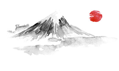 Wall Mural - Japan traditional sumi-e painting. Fuju mountain. Indian ink illustration. Japanese picture.