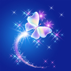 Transparent butterfly with stars