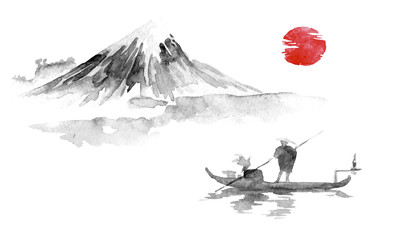 Wall Mural - Japan traditional sumi-e painting. Indian ink illustration. Man and boat. Mountain landscape. Sunset, dusk. Japanese picture.