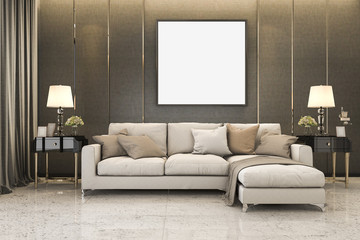 3d rendering nice soft sofa near luxury golden decor and mock up
