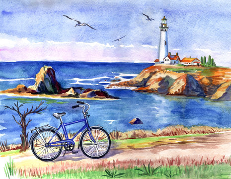 Seascape with a lighthouse and a bicycle, watercolor painting.