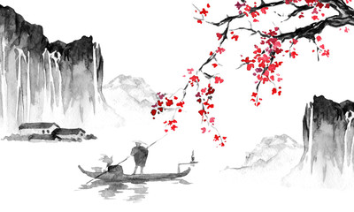 Wall Mural - Japan traditional sumi-e painting. Indian ink illustration. Japanese picture. Man, boat, sakura, mountains