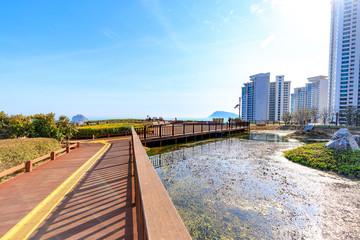 Scenery of Sunrise park near Oryukdo sky walk in Busan city