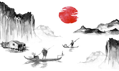 Wall Mural - Japan traditional sumi-e painting. Indian ink illustration. Japanese picture. Man, boat, mountains