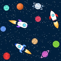 Seamless background of space objects. Planets, spaceship. Collection of outer space icons Vector illustration