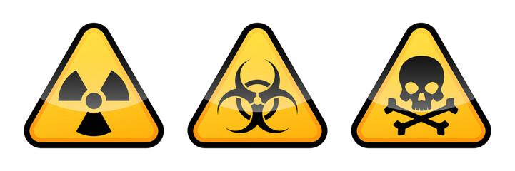 Warning vector signs. Radiation sign, Biohazard sign, Toxic sign. Danger signs