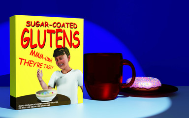 3d rendering of a 3d illustration featuring a made up comical cereal