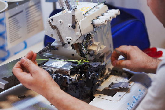 Sewing machine and overlock repairing process, masters hands, tools, details