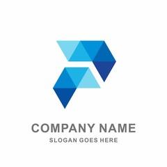 Monogram Letter P Geometric Triangle Digital Technology Computer Business Company Stock Vector Logo Design Template