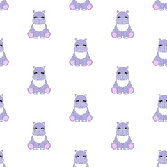 Hippo baby. Seamless vector illustration. Flat.
