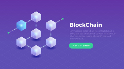 Blockchain concept slider banner design with isometric blocks chain illustration and text vector illustration Wall mural