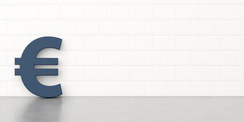 Euro-Zeichen steht vor einer Kalksandsteinmauer.