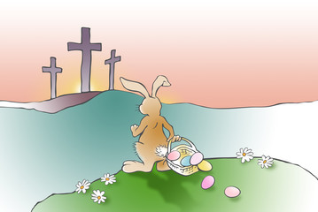 Easter Bunny confronts Christian Cross of Jesus