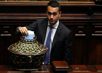 Five Stars Movement (M5S) leader Luigi Di Maio casts his vote at the Chamber of Deputies during the second session since the March 4 national election in Rome