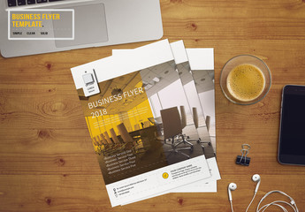 Business Flyer Layout with Yellow and Gray Accents