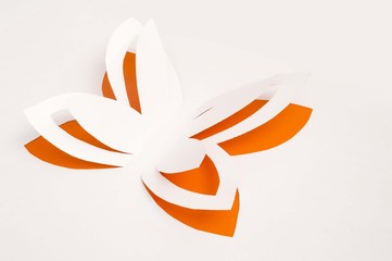 orange paper butterfly flying