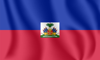 Flag of Haiti. Realistic waving flag of Republic of Haiti. Fabric textured flowing flag of Hayti.