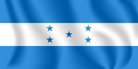 Flag of Honduras. Realistic waving flag of Republic of Honduras. Fabric textured flowing flag of Spanish Honduras.