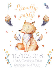 Cute bohemian baby cartoon fox animal for kindergarten, woodland nursery isolated decoration forest illustration for children forest animals pattern. Watercolor hand drawn boho set
