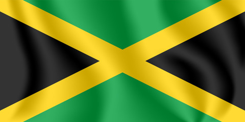 Flag of Jamaica. Realistic waving flag of Jamaica. Fabric textured flowing flag of Jamaica.