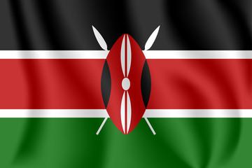 Flag of Kenya. Realistic waving flag of Republic of Kenya. Fabric textured flowing flag of Kenya. Wall mural
